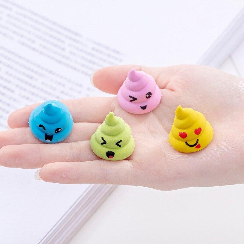 New 48pcs Kawaii Pencil Eraser Creative Cute Emoji Poop Novelty Erasers Kpop Stationery Kids Eraser Prizes For Kids School Items