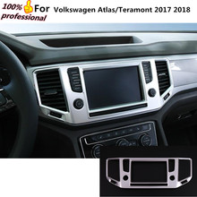 Car styling garnish cover ABS chrome Center Console Navigation box Interior GPS trims for Volkswagen Atlas/Teramont  2017 2018