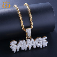 Hip Hop Jewelry Zircon SAVAGE Letters Necklaces & Pendant For Men/Women Gold Silver with Rope/Cuban/Tennis Chain