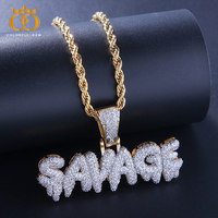 colorful.gem Hip Hop Jewelry Zircon SAVAGE Letters Necklaces & Pendant For Men/Women Gold Silver with Rope/Cuban/Tennis Chain