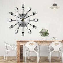 Короткие современные большие настенные часы из нержавеющей стали, настенные часы, волшебная ложка, вилка, кварцевые иглы, 3D часы для гостиной, домашний декор Z30