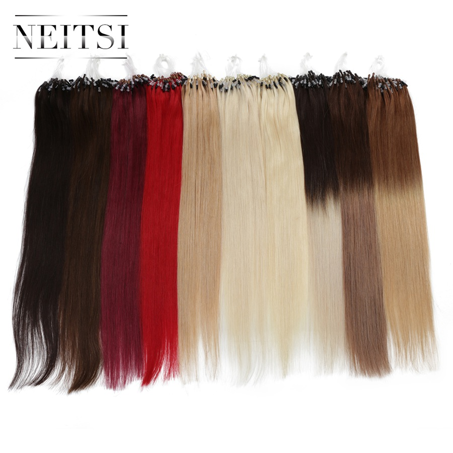 Neitsi Straight Loop Micro Ring Hair 100% Human Micro Bead Links Machine Made Remy Hair Extension 16
