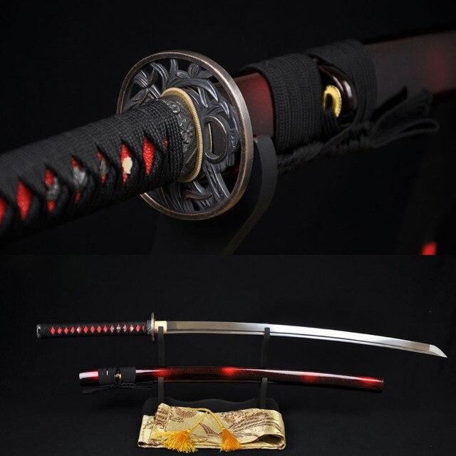 Японский Samurai Katana Sword, ручная работа, 1060 Высокоуглеродистая Сталь, полное лезвие tang, острое, на заказ, реальные Espadas, Katanas, Battle Ready