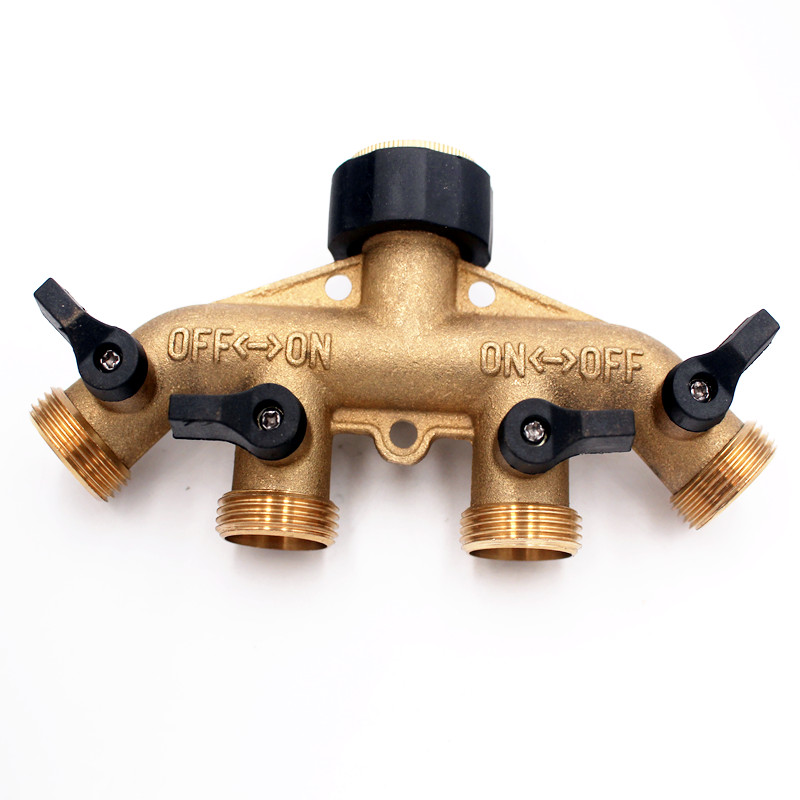 2pcs/pack 4 Way Brass Tap Adaptor Outlet Hose Valve Manifold Hose Splitter Tap Adaptors Washers Hose End Fittings Watering D110