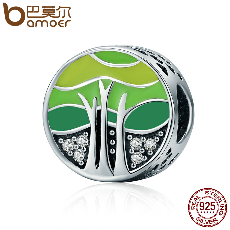 BAMOER New Collection 100% 925 Sterling Silver Spring Forest Tree of Life Beads fit Women Bracelets DIY Jewelry Gift SCC220 tree hole forest pathway waterproof rug