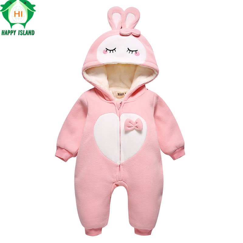 HAPPY ISLAND Animal Baby Rompers 2017 Autumn Newborn Baby Piece Sleepwear Clothing Kids Jeans Boy Girl Pajamas Cartoon Clothes