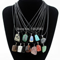 Wholesale 12pcs/lot Fashion Jewelry Opal Tiger's eye Turquoise Irregular Natural Stone Charms Pendants Necklace Gift YN446
