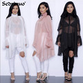Women Girl Lady Sun Protection long sleeve black/pink/white Sunscreen Top Cardigan lace loose Thin Shirt Sunblock Chiffon blouse