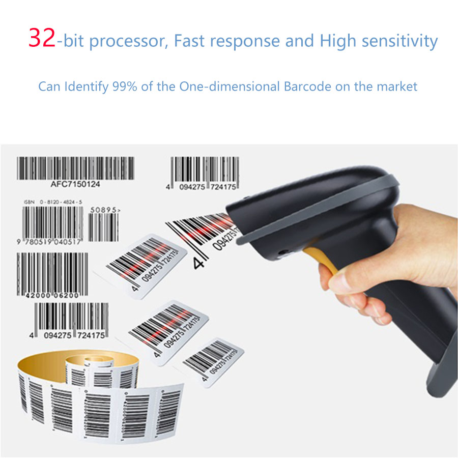 Portable 1D 2D QR Bluetooth Barcode Reader Scanner Wireless Usb Terminal Scanner For Store Warehouse Hospital And Restaurant