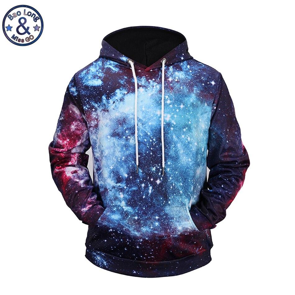 Mr.BaoLong brand Magic Galaxy starry sky 3D printed red hooded hoodies mens drawstring hoodies pullover sweatshirt H118