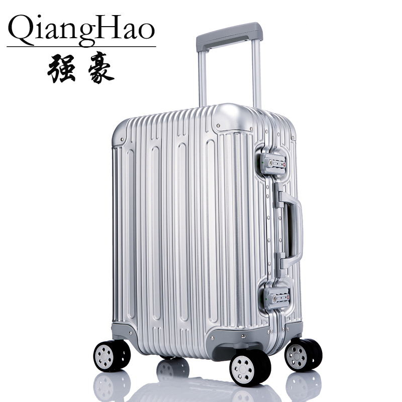 QiangHao Rolling Carry Trolly Suitcase 100 Aluminum Alloy Rolling Luggage Trolley Case High Quality Hand luggage