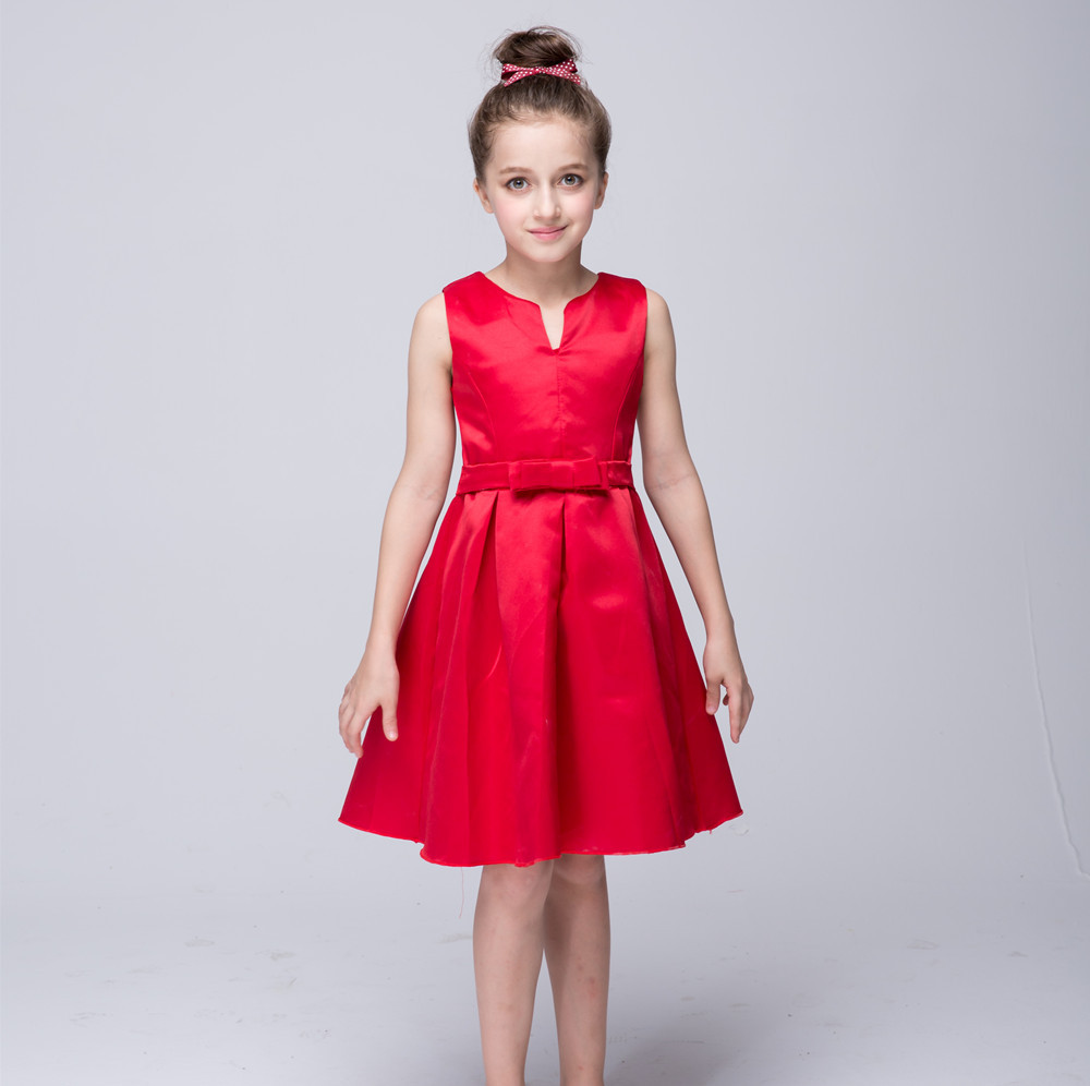 ФОТО Hot Sale Flower Girls Dresses For Wedding Gowns Red  Girl Birthday Party Dress A-Line Dress Girl