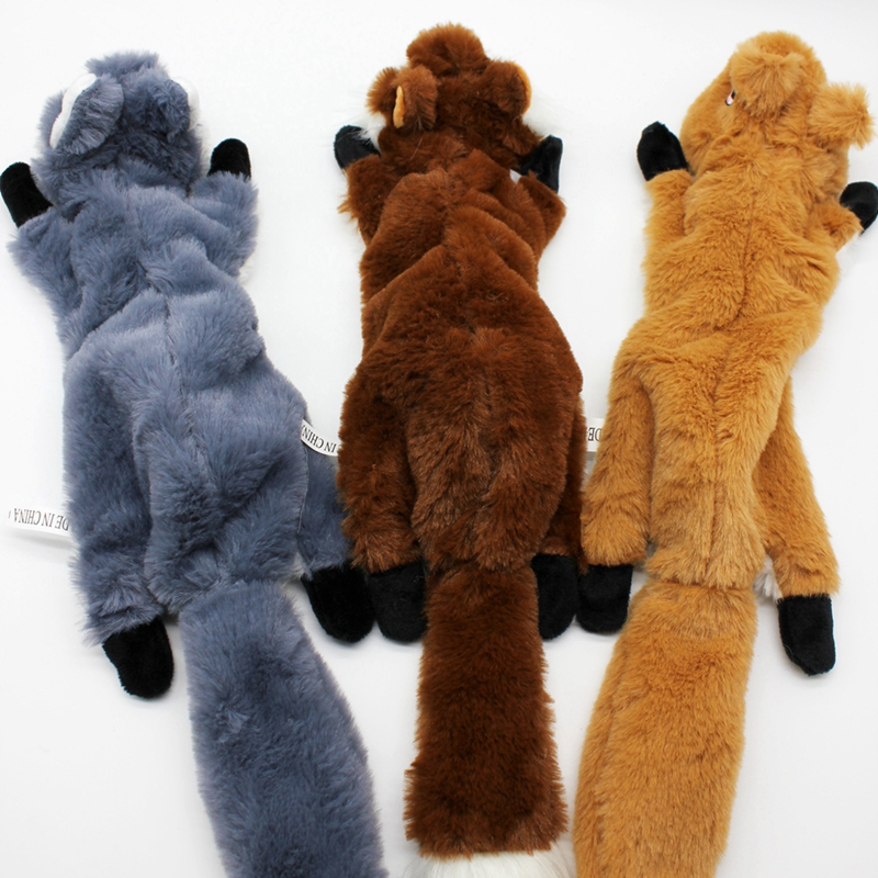 Cute Plush Toys Squeak For Dogs Chew Squeaker Pet Squeaky Animal Shaped Toy Squirrel  Dog Cat Toy Pet Supplies 12