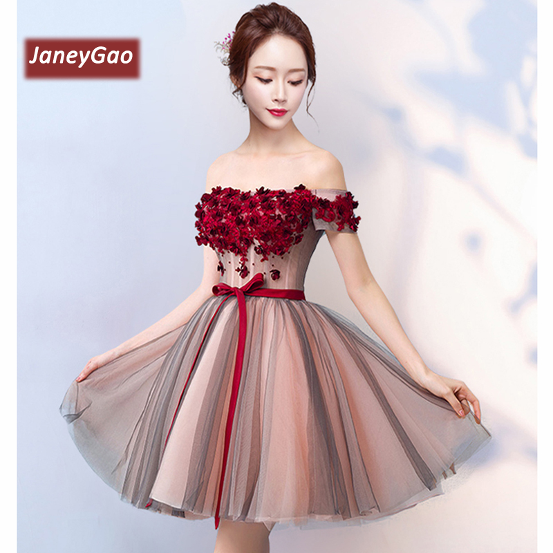 JaneyGao Short Prom Dresses Women Formal Short Evening Party Formal Gown 2019 New Arrival Boat Neck Elegant Vintage Prom Dresses