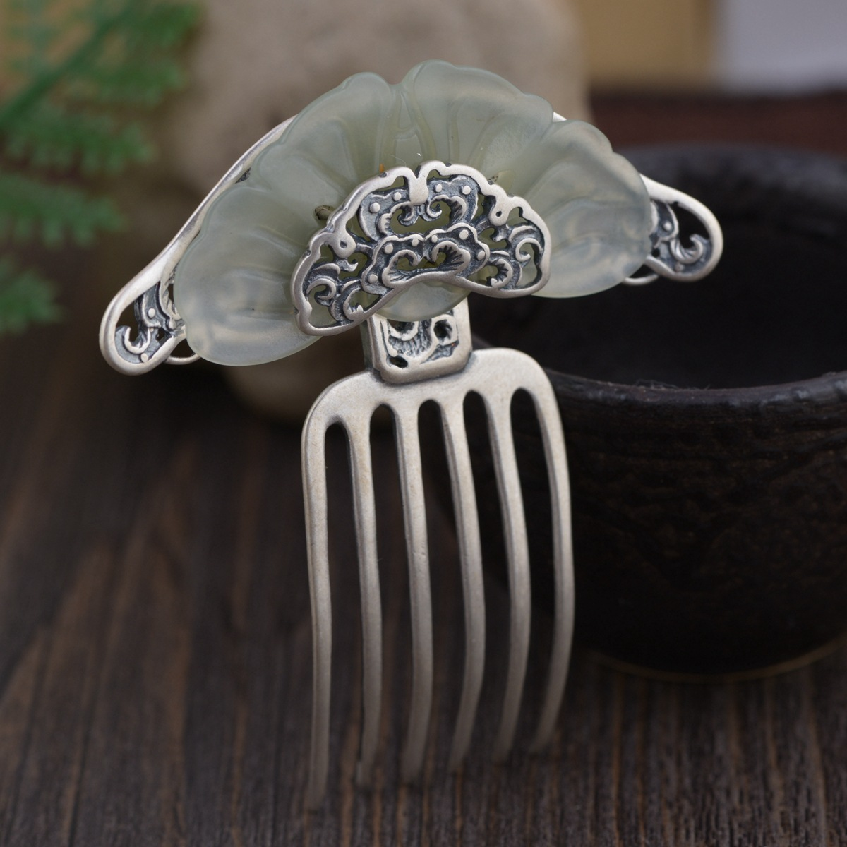 Stone Inlay Thai Silver Hair Comb Vintage Chinese Style Silver Hairpin Peony Flower Hair Pin Jewelry