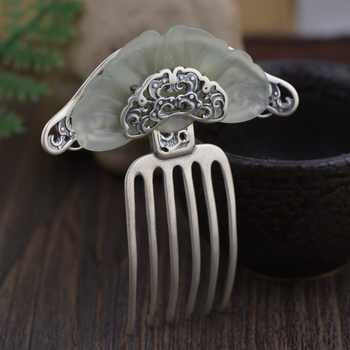 Stone Inlay Thai Silver Hair Comb Vintage Chinese Style Silver Hairpin Peony Flower Hair Pin Jewelry Hair Accessories WIGO1151 - DISCOUNT ITEM  35% OFF All Category