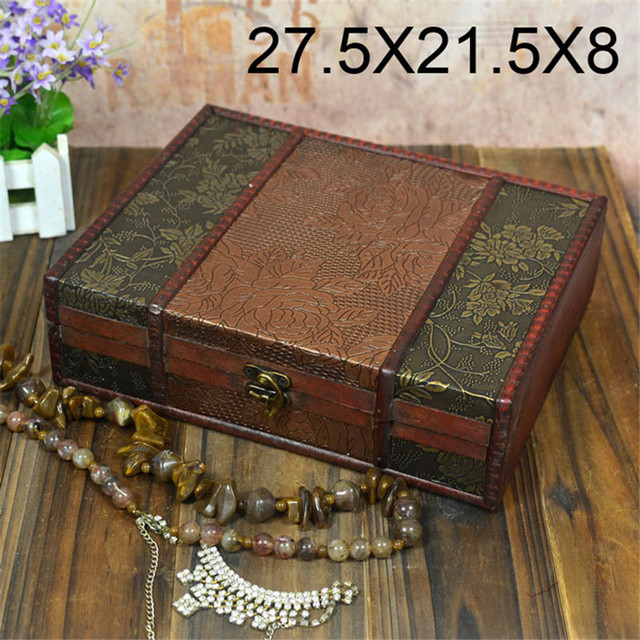 Classic Vintage Wooden Storage Box Wooden Box Restoring Ancient Sweet  Jewelry Box Organizer Treasure Chest Case