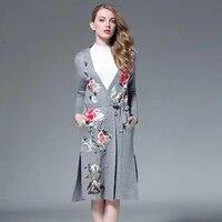 XXXL 2018 весна кардиган свитер для женщин шерстяной Винтаж Вышивка цветок длинный пальто накидка верхняя одежда