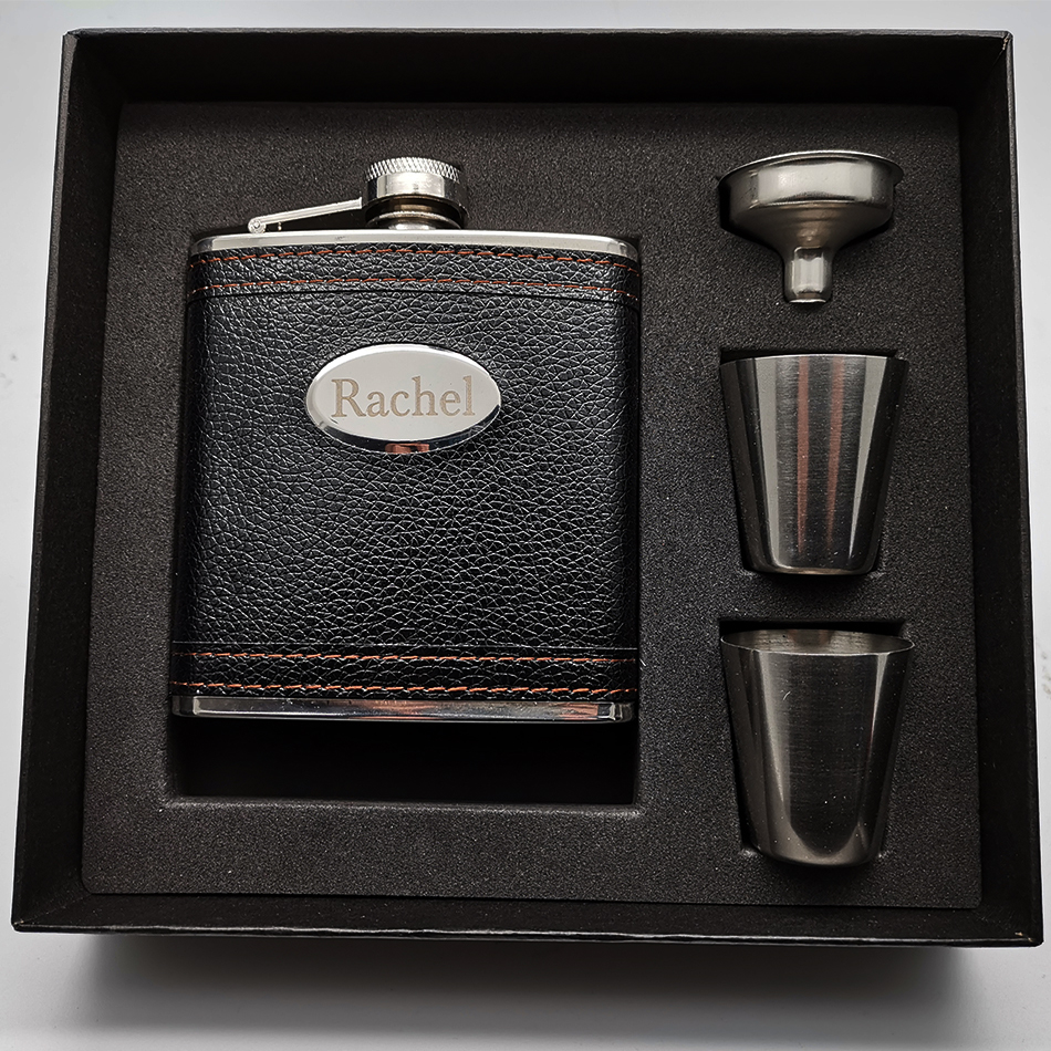 Personalised 5oz Stainless Steel and Faux Leather Hip Flask Laser Engraved