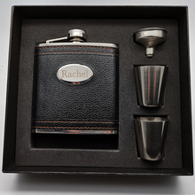 6oz Personalized Hip Flask Set Custom leather stainless steel Laser Engraved , Groomsmen Gi