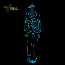EL Suits 2016 New Fashion LED/EL Clothes Luminous Costumes Glowing Gloves Shoes Light Clothing Men EL Masks Clothe Dance