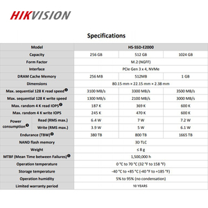 Image 4 - HIKVISION SSD M2 1TB 1024GB PCIe NVME C2000 For Desktop Laptop Small server  Solid State Drive PCI e Gen 3 x 4 10 year warranty