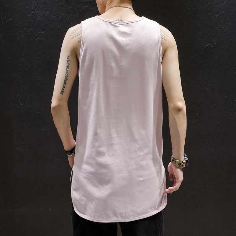 Классическая однотонная футболка без рукавов Мужская Летняя негабаритная хип футболка хип-хоп Мужская качественная 100% хлопковая белая черная розовая футболка мужская