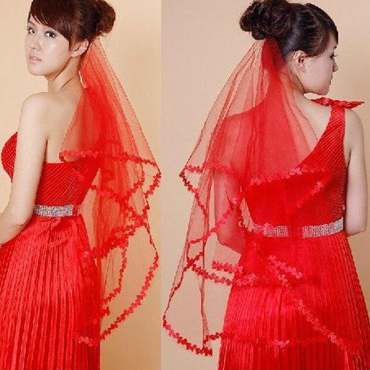 New Red Short Wedding Bridal Veil Elbow  75cm Length Edge