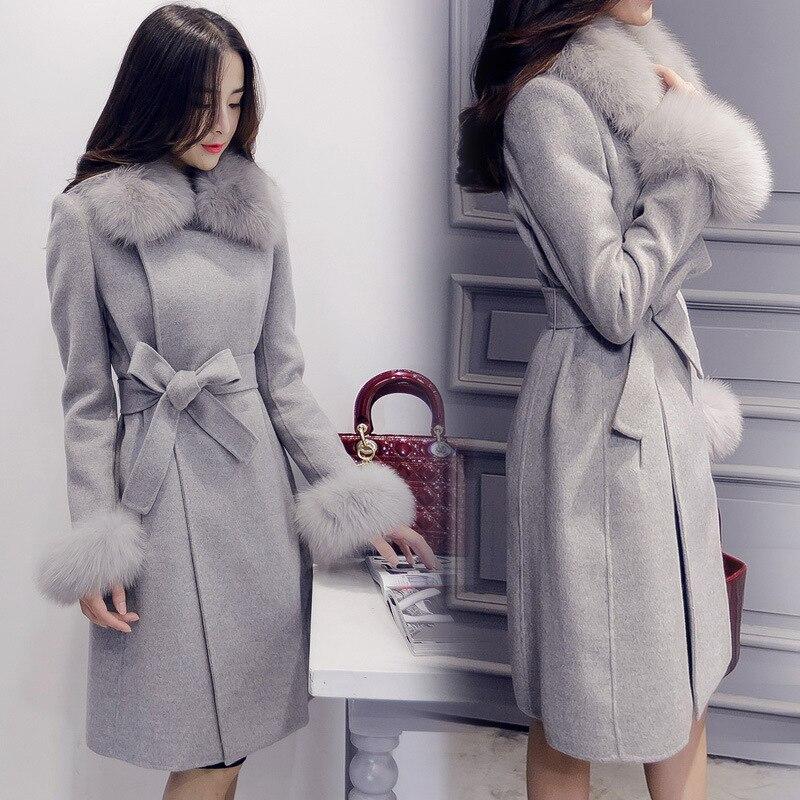 Elegant Womens Wool Long Coats 2018 Winter Detachable Faux Fur Collar Wool Blend Coat And Jacket Office Lady Belt Coats
