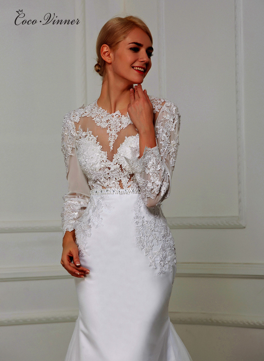 Sheer Boat Neck Hollow Back Elegant Mermaid Wedding Dress With Lace Embroidery Appliques Beading Sashes Bridal Dresses W0205
