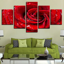 Canvas Prints Poster Framework Living Room Wall Art Pictures 5 Pieces Bright Dew Red Rose Flower Water Drops Painting Home Decor(China)
