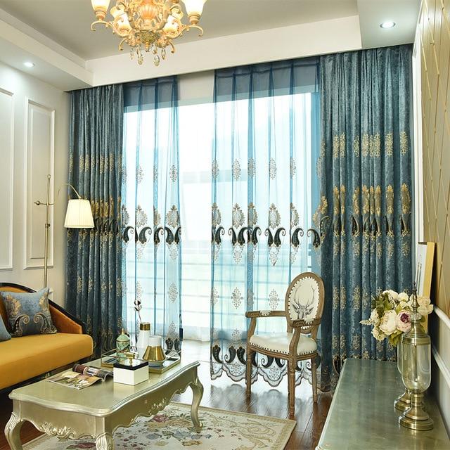 € 14.55 48% de DESCUENTO|Lujo estilo europeo engrosamiento Shading ventana  moderna manto Villa cortinas tul para sala comedor dormitorio en Cortinas  ...