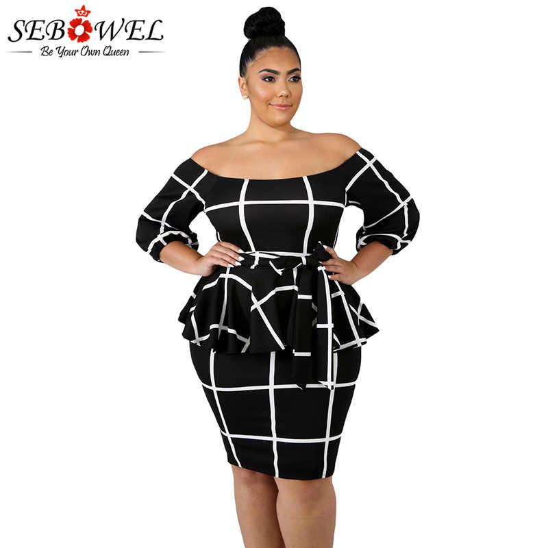 SEBOWEL Sexy Off Shoulder Black White Plus Size Peplum Dress Autumn Women  Long Sleeve Vintage Elegant ef5caa1ae3bd