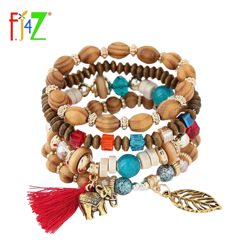 2017 New Women's Bangle Bracelets Fashion Vintage Bohemian Wood Beaded Tassel Leaf Elephant Charms Bracelets pulseiras de couro