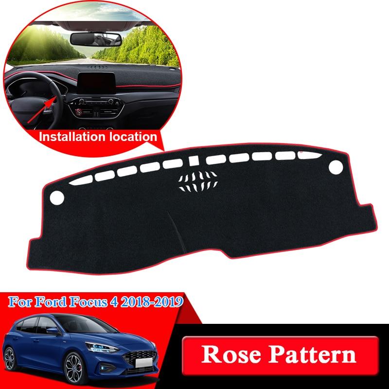QCBXYYXH pour Ford Focus 4 2018-2019 Rose motif tableau de bord tapis de protection intérieur photophobisme Pad ombre coussin voiture style
