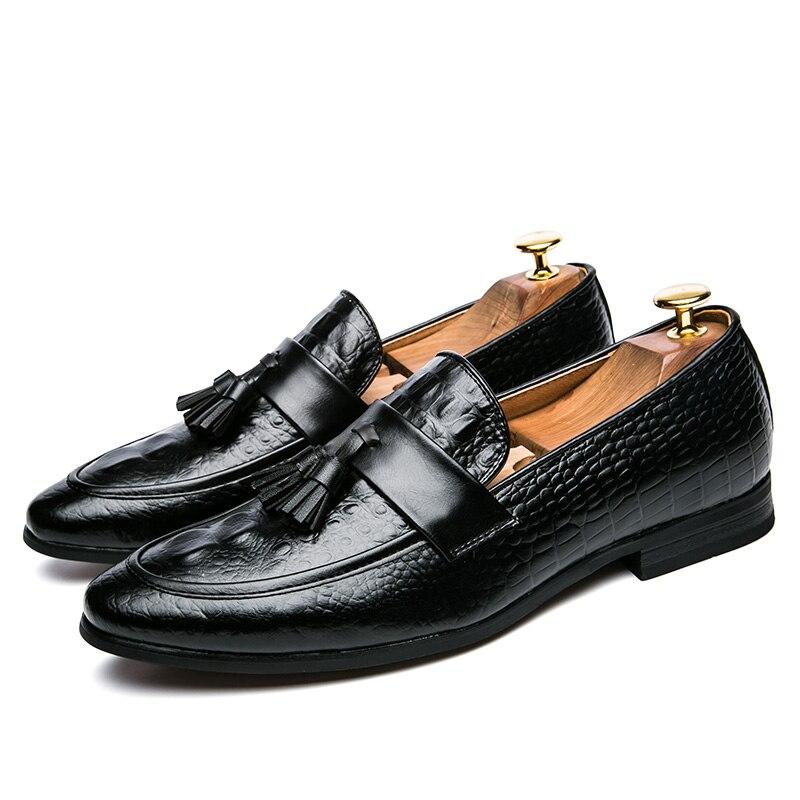 mens tassel shoes leather italian formal snake fish skin dress office footwear luxury brand fashion elegant oxford shoes for men (9)