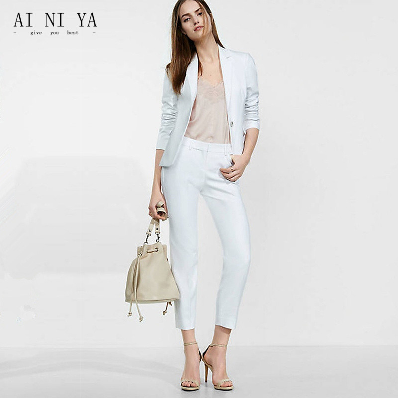 New Pant Suits Women Sky Blue Casual Office Business Suits Formal Work Wear Suits Elegant Pant Suits Summer Spring Custom
