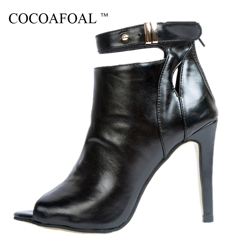 COCOAFOAL Woman Peep Toe Ankle Boots Black Spring Autumn Winter Fetish High Heels Chelsea Boots Fashion Sexy Prom Shoes 2018 ultra thin heels boots sexy peep toe women s shoes 15cm fashion magazine boots black fetish high heel shoes 6 inch ankle boots