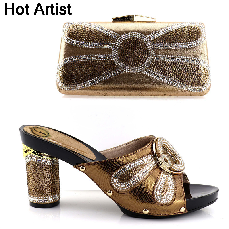 Hot Artist Nigerian Rhinestone Woman Shoes And Bag Sets African High Heels Woman Shoes And Bag Set For Party Free Shipping YH-02 capputine new arrival woman shoes and bag set nigerian design high heels shoes and bag sets for party free shipping bch 40