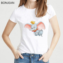 Divertido dumbo camiseta mujer camiseta Linda Dumbo bebé elefante estampado animal camiseta femenina Casual tumblr ropa camiseta Mujer(China)