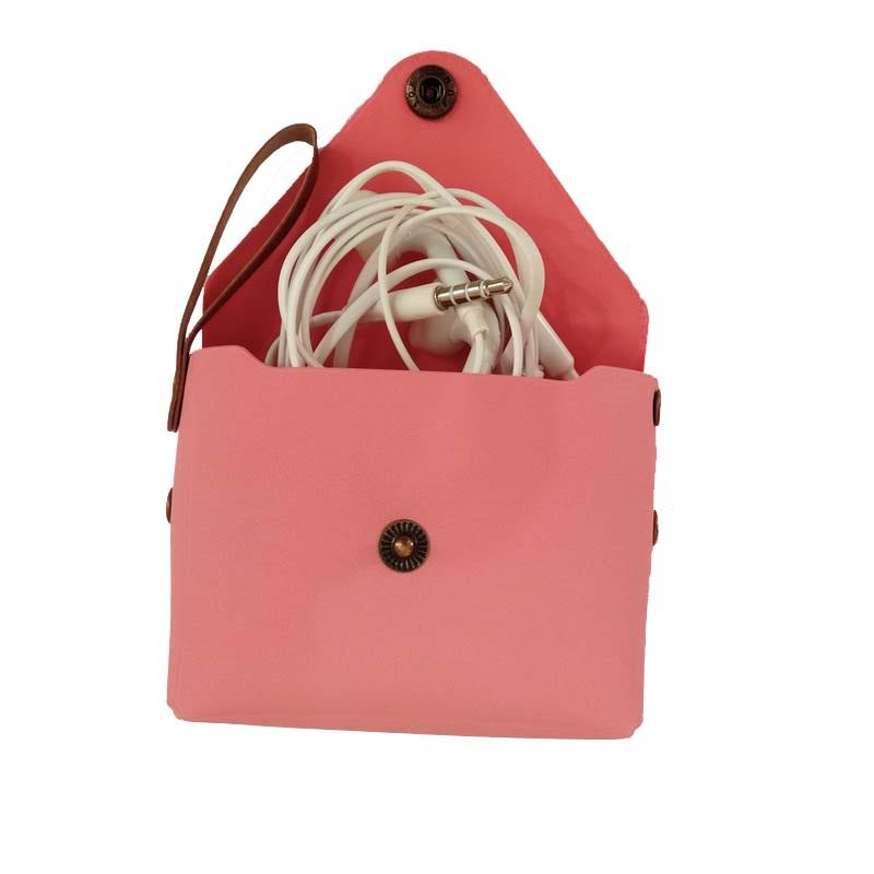 Candy-colored Fashion mini portable PU Leather Small Bag female Girl Headset Line Coin Purse Card Bag Clutch Wallet