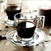 European Style Coffee Cup Set Simple Heat Resistant Glass Mug With Tray Dish