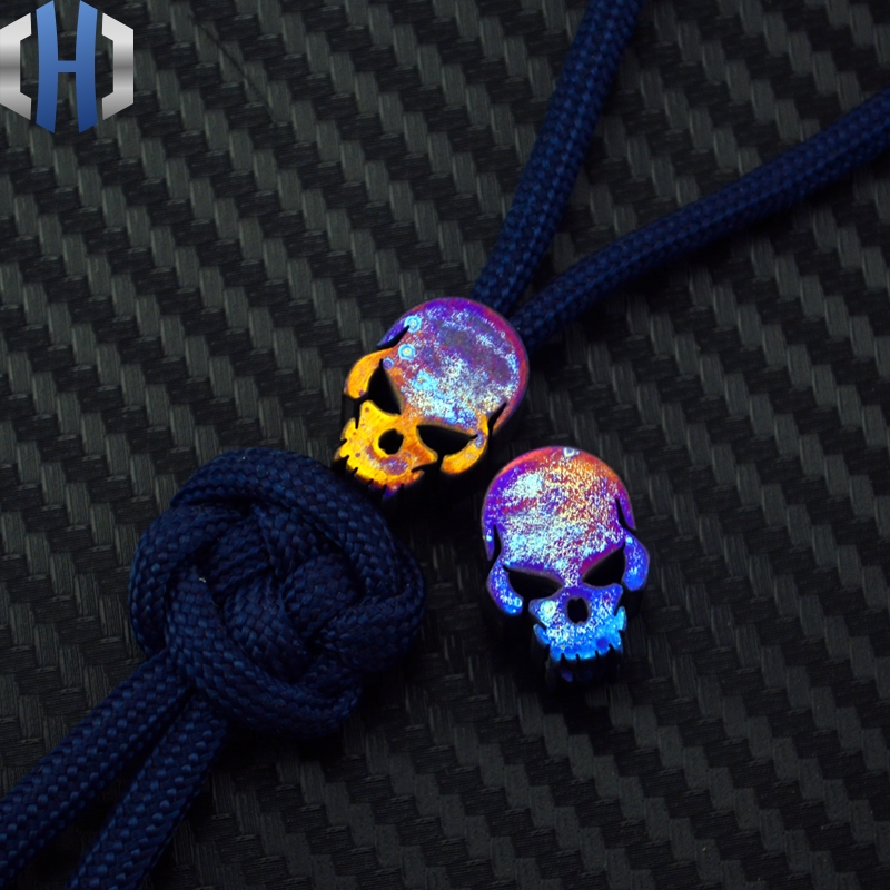 Pender Titanium Alloy EDC Pendant Rope Knife Beads Rope Outdoors Surge Equipment Titanium Color Skull Grilled Blue TC4 Pendant broad paracord