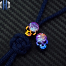 Pender Titanium Alloy EDC Pendant Rope Knife Beads Outdoors Surge Equipment Color Skull Grilled Blue TC4