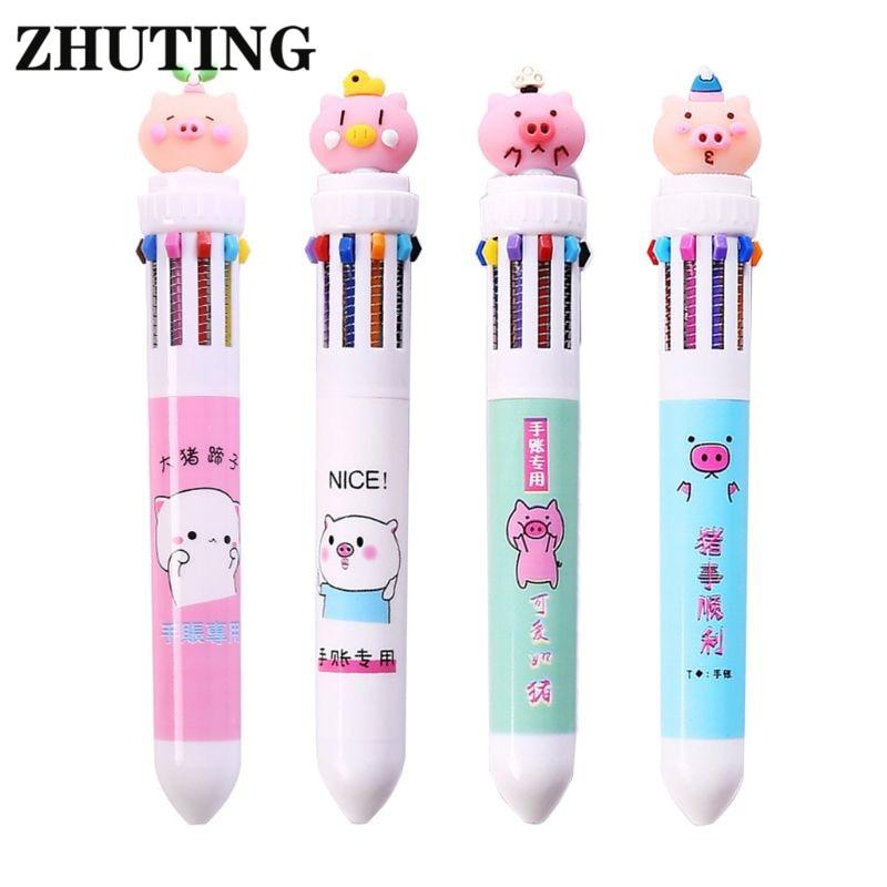 Multi-color 10In1 Cute Cartoon Pig Ballpoint Pen Press School Office Supplies Accessories Stationery Kids Gift  Ballpoint Pen