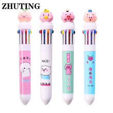 Multi-color 10In1 Cute Cartoon Pig Ballpoint Pen Press School Office Supplies Accessories Stationery Kids Gift  Ballpoint Pen
