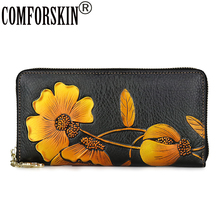 COMFORSKIN Genuine Leather Long Embossed Flower Wallets New Arrivals Large Capacity Multi-Card Bit Zipper Purse With Hand Rope comforskin luxurious 100% genuine leather multi card bit woman zipper purses famous brand long large capacity women s wallets