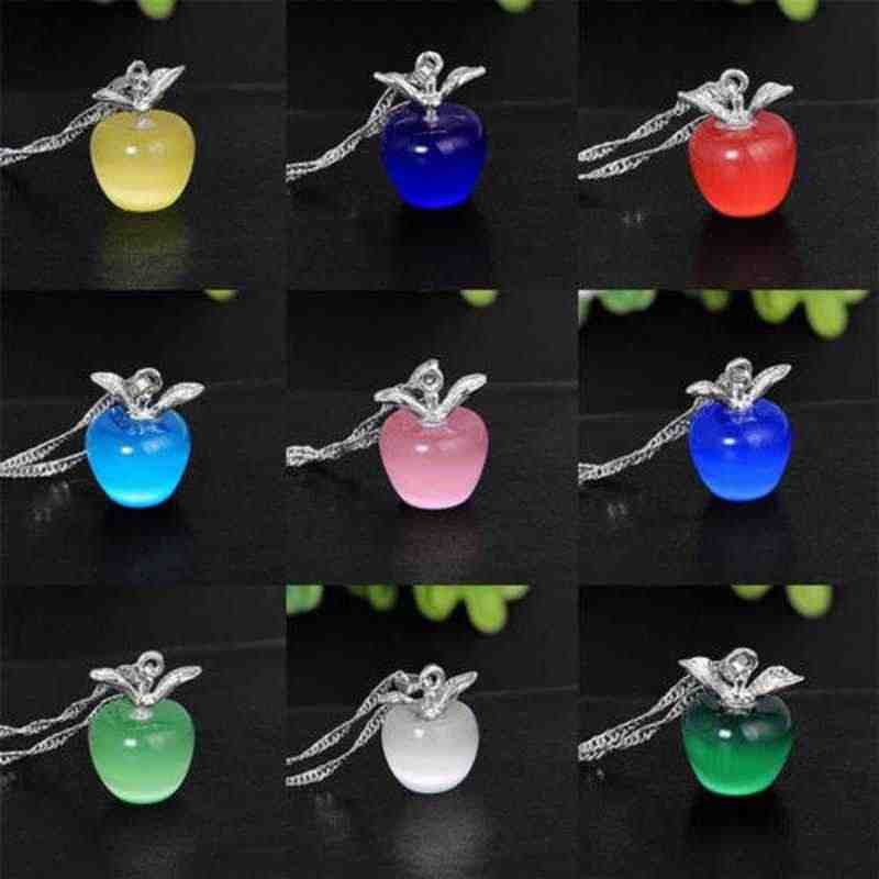Fashion Boutique Cat Eye Apple Pendant Necklace for Women Accessories Crystal Jewelry Hot Lovely Clavicular Chain Simple Gift