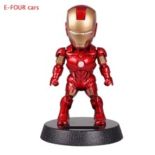 E-FOUR Car Decoration Cute Doll Captain A Iron Man Shaking Head Toy Cartoon Ornament Interior Solar Dancing Cars