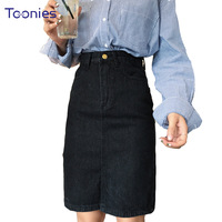 Las Mujeres del otoño Harajuku Femme Negro Faldas de Mezclilla Del Todo-Fósforo Delgado Femenino Rodilla-longitud A-line Solid Casual Jeans Saisas Jupe Falda